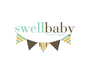 Custom Logo Design Premade Logo and Watermark for Photographers and Small Businesses Multi Pattern Bunting Shabby Chic Vintage Polka Dots