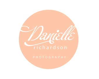 Custom Logo Design Premade Logo and Watermark for Photographers and Small Crafty Boutiques Shabby Chic Handwritten Font inside Circle Frame