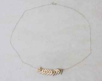 Necklace - Sterling silver and brass triangle necklace - handmade metalwork