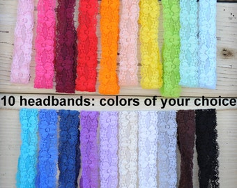 "Lace Headbands - Stretch Elastic Lace Baby Headbands - Set of 10 - 1"" Lace Headbands - Elastic Lace Baby Headbands - You Pick Colors"