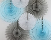 Baby Shower Decorations - 6 Tissue Paper Fans Decor Kit , baby showers, children's birthday parties , bridal showers