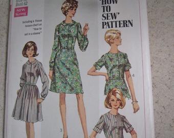 Simplicity Pattern 7512 Shirt Dress How to Pattern Vintage 1960s Shirtwaist Dress Size 38 Bust 42 Uncut