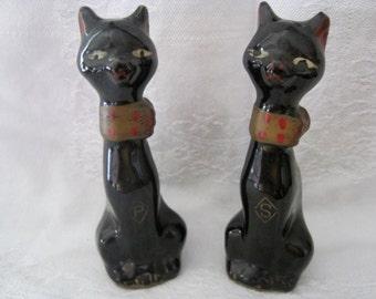 Cute Vintage Black Cat Salt & Pepper Shakers