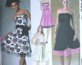 """McCalls Dress Pattern No 4460 UNCUT 2000s Sizes AAX 4 6 8 10 Bust 29 1/2"""" to 32 1/2"""" XS Party Dress Strapless or Spaghetti Straps Ruffle"""
