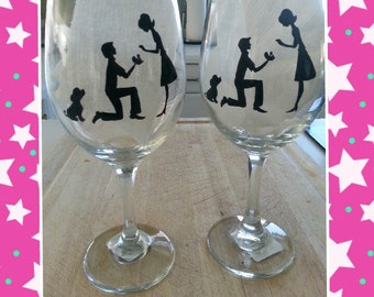 WINE glass custom hand painted weddings valentines day engagement gift silhouettes with dog proposal