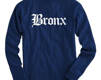 LS Bronx Tee - Gothic NYC Long Sleeve T-shirt - Men and Kids - S M L XL 2x 3x 4x - Bronx Shirt - 4 Colors