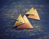 Triangles - Copper, Brass and Sterling Silver Geometric Earrings