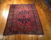 "Vintage 4'6"" x 6' Antique Turkish Bergama Design Oriental rug"