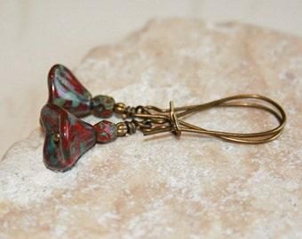 Dangling Flower Earrings, Red Flower dangle earrings, Long red earrings