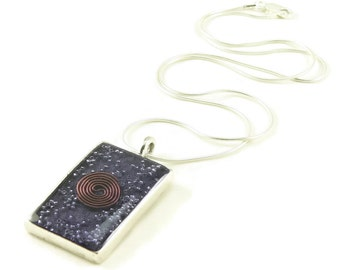 Orgone Energy Pendant - Antique Silver Rectangle w/Amethyst Gemstone - Unisex Necklace - Men's Necklace - Energy Jewelry - Artisan Jewelry