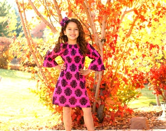 CLEARANCE SALE Girls Pink Black Damask Dress, Peasant Dress -Last One Size  4