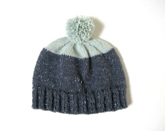 Beanie hat in Mint and Blue with pom pom, UNISEX