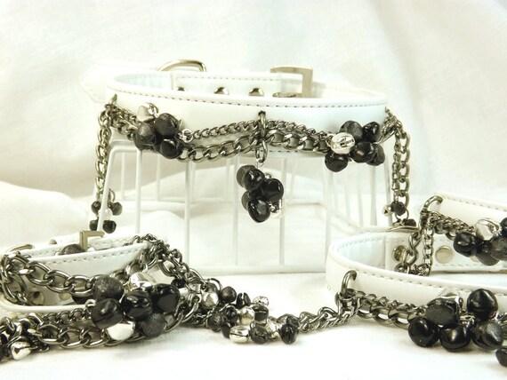Bdsm Set White leather Collars and Cuffs Chains Slave bells bondage set mature bdsm restraints set