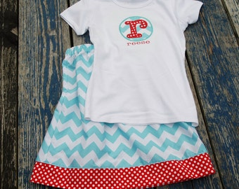 Girls Skirt and Shirt set chevron print