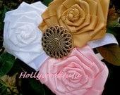 rustic flower girl headband,toddler headband,newborn headband,pink headband,gold headband,girls headband,wedding accessory