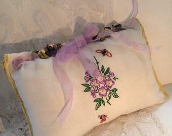 Lovely Ring Bearer Pillow Flowers and Bees
