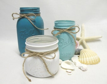 Painted Mason Jar Vases or Containers Set of Three in Aqua, Turquoise and White - Beach, Coastal, Country Decor Shabby Cottage Chic