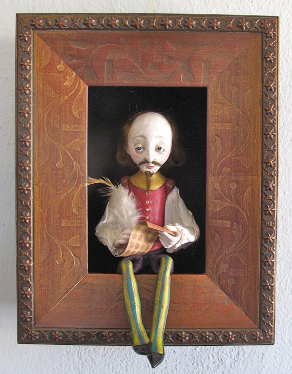 Shakespeare--sculpted figure/doll in shadowbox
