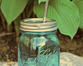 Green Mason Jar Tumbler with Stainless Steel Straw