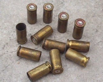 12 Brass Spent 26 Automatic Bullet Shells for Altered Art, Steampunk Jewelry Supplies