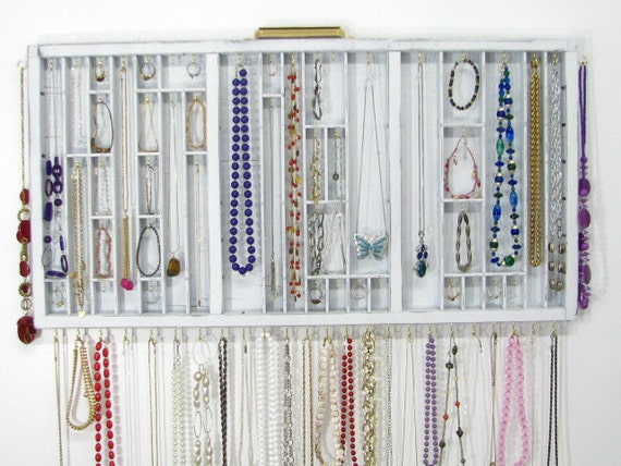 Jewelry Organizer Display in distressed white