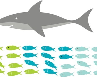 wall decals - shark decal - Vinyl wall decal - nursery decal - school of fish - sea animals - Under water decal