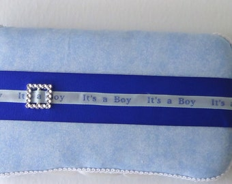 BLUE Wipe Case Cover It's a BOY Light Boys Fabric BLING Rhinestone Buckle Huggies Wipes Travel Size Baby Diaper Bag Accessory New Gift