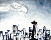 Mens Gifts, Seattle Seahawks Super Bowl Tribute XVIII Print Poster--12th Man Fans, Space Needle, Seattle Cityscape, GIft for Him