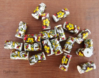 Vintage 1970's ceramic tube beads with floral decal, fall colors, set of 20