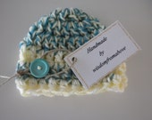 Baby Hat Crochet Newborn Photography Prop Multi Color Mint Yellow White  with button