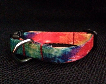 Tie Dye Polyester Dog Collar (Size Extra Small)