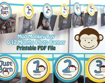 0 months to 12 months photo banner picture holder mod monkey theme Boy - 1st year birthday party 1 year banner 1st birthday ( DIY Printable)