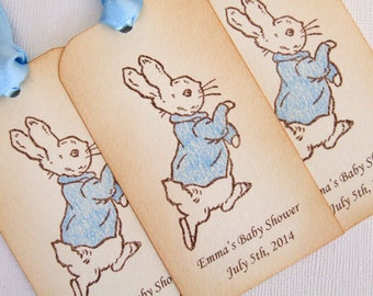 Personalized Peter Rabbit Baby Shower Gift Tags, Beatrix Potter, Baby Boy Girl, Decorations, Favor Vintage Style, Set of 6 Luxury Tags 001-B