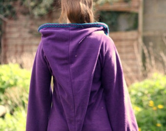 Festival Elf Dress in Purple- Medieval Womens Tunic with Pixie Pointy Hood - Game of Thrones Costum - Link hoodie - PSY hoodie  elven dress
