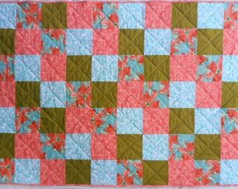 Patchwork Floral Quilt, Bright Flower Quilt, Aqua Quilt, Green Quilt, Coral Quilt, Pink Quilt, Hawaiian Inspired Quilt