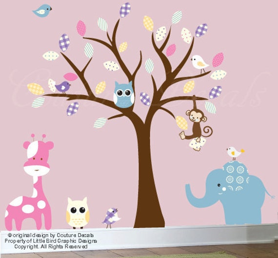 Children's Jungle wall decal tree wall decal patterned wall decal - 0297