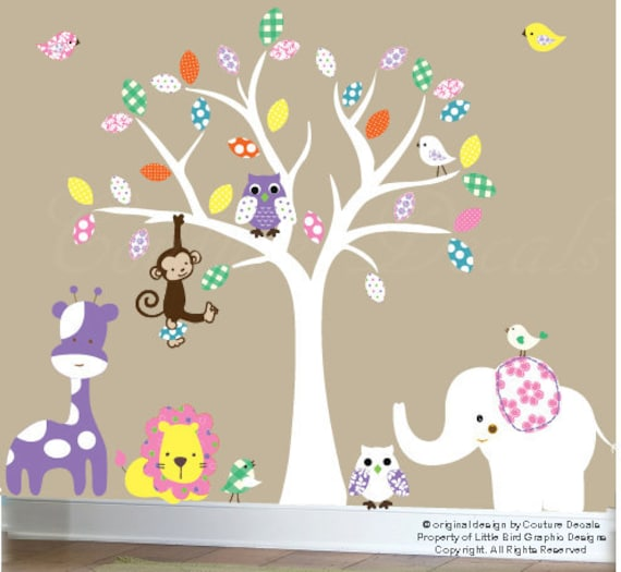 Childrens wall decals - nursery white tree decal - Safari Jungle Friends - 0020
