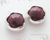 SALE 2pcs Amethyst Round Framed Faceted Glass Stone Pendants Rhodium Plated Brass Unique Jewelry Findings//20mm x 20mm//GSL-0075-BR