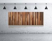 Modern Reclaimed Wood Wall Art Sculpture in Browns, Tan, Cream and Gray Strips - Modern Wood Wall Art - Reclaimed Wood Art