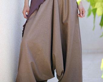 Bohemian Women harem pants, Plus size harem pants, Pregnancy Maternity clothes, Women Low crotch, Boho style pants, Harem skirt, Linen pants