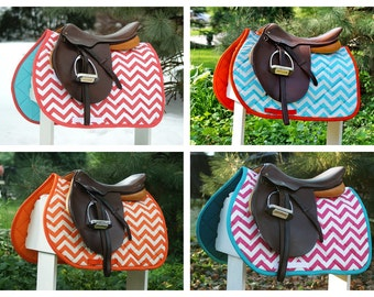 Zig Zag Prints Saddle Pad Many Colors - MADE TO ORDER