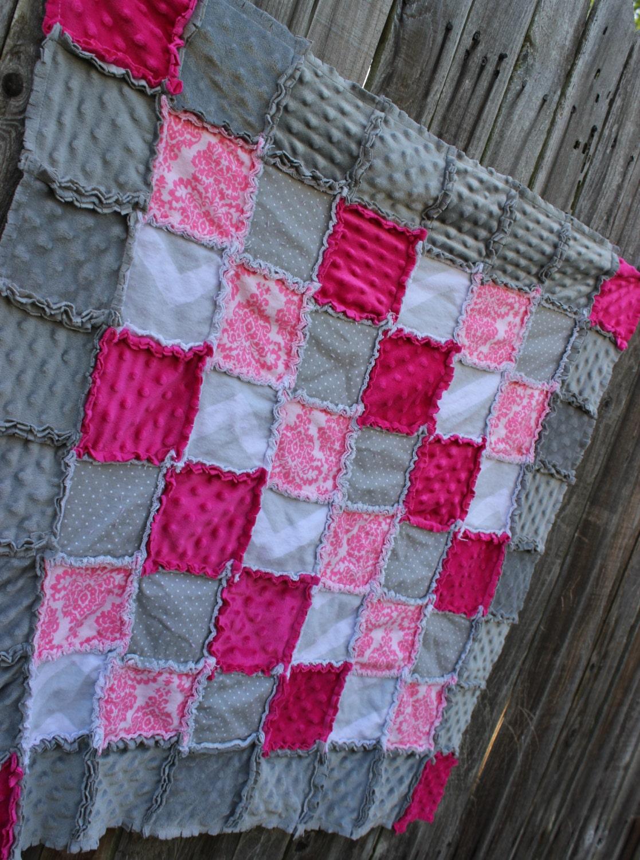 Pink Amp Gray Rag Quilt Blanket Damask Chevron Polka Dot