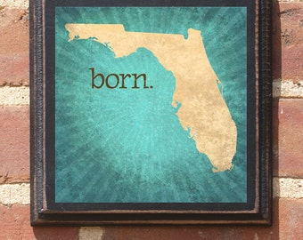 Florida FL Wall Art Sign Plaque Gift Present Personalized Color Custom St Petersburg ocala Miami Tampa bay Jacksonville Orlando Antiqued