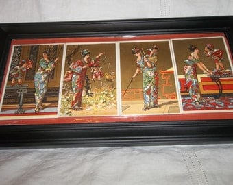 Antique Madame Butterfly & Cupid CHROMOLITHOGRAPHS Framed...