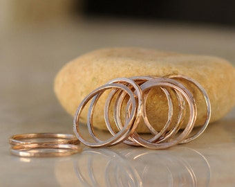 Stack Rings - Thin Stacking Rings - Rose Gold Stacking Ring Set - Stacked Ring Set