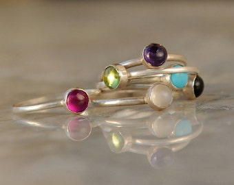 Handmade Boho Ring Set - Sterling Silver Stack Rings - Stackable Birthstone Rings - Gemstone Stackable Rings - Boho Stack Rings