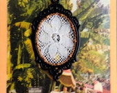 Victorian Inspired Black Pendant Frame with Vintage Cream Lace and Copper Tone Chain- ON SALE