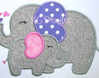 Mommy and Baby Elephant Machine Applique Embroidery Design - 4x4, 5x7 & 6x8