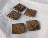 New - Old style crackled Inlay - 5 square hand made ceramic button