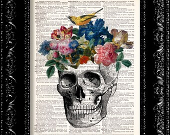 Floral Skull Dictionary Print, Skull Anatomy, Vintage Book Art, Upcycled Art, Skull with Flowers Print